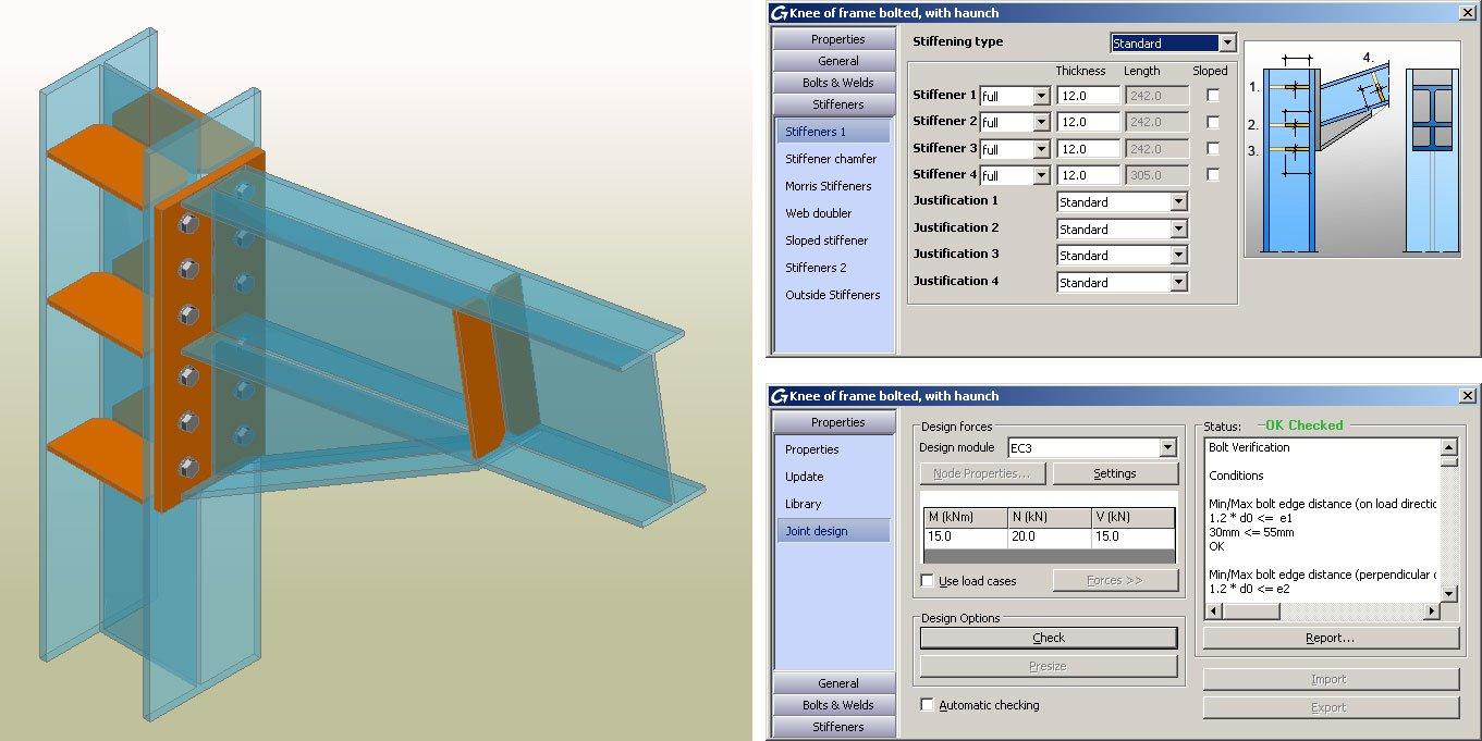 GRAITEC Autodesk Advance Steel | Eurocodici 3 | Rinforzo sull'ala della colonna