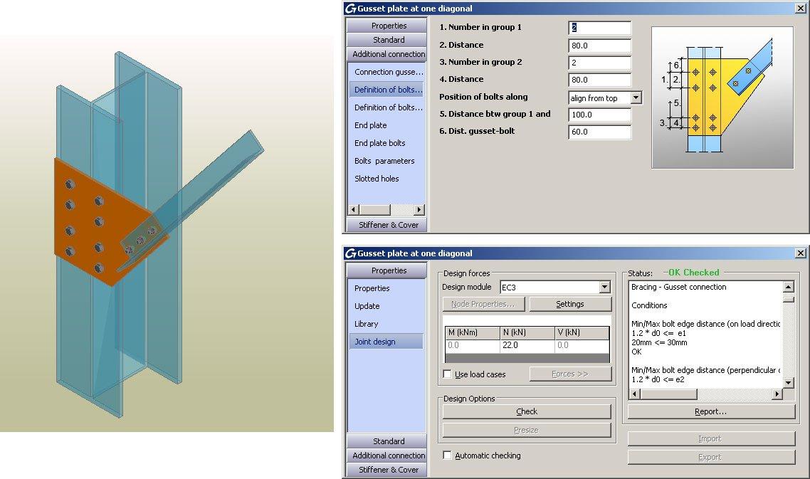 GRAITEC Autodesk Advance Steel | Eurocodici 3 | Fazzoletto con una diagonale