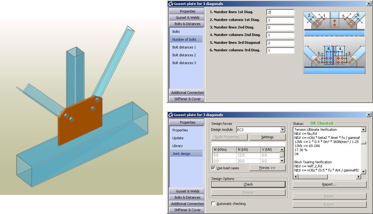 GRAITEC Autodesk Advance Steel | Eurocodici 3 | Fazzoletto con tre diagonali