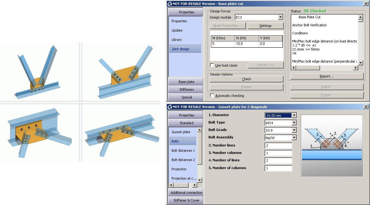 GRAITEC Autodesk Advance Steel | Eurocodici 3 | Fazzoletto con due diagonali