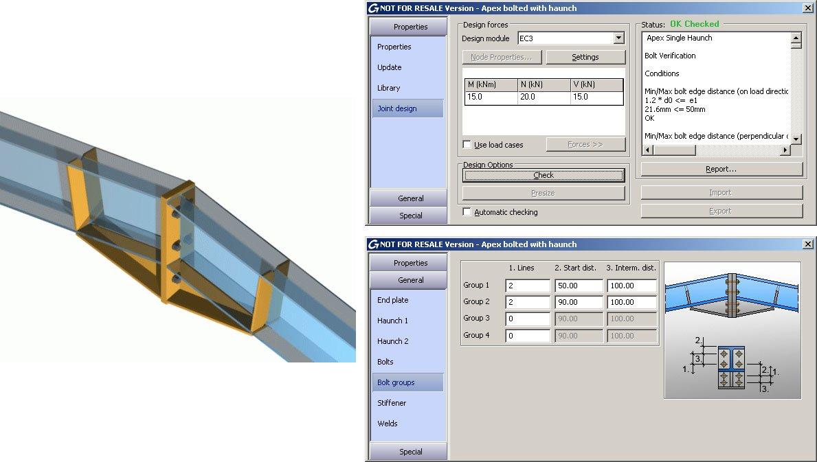 GRAITEC Autodesk Advance Steel | Eurocodici 3 | Giunto di colmo