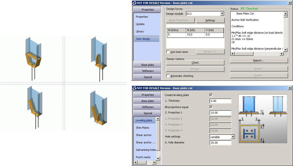 GRAITEC Autodesk Advance Steel | Eurocodici 3 | Piastra di base tagliata