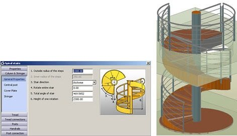 GRAITEC Autodesk Advance Steel | Scale e Parapetti | Scale elicoidali
