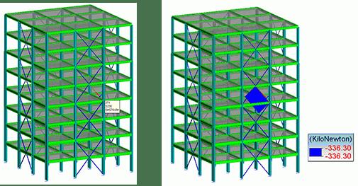 GRAITEC Advance Design | Verifica degli elementi controventati | Modellazione della struttura. Identificazione del controvento più sollecitato