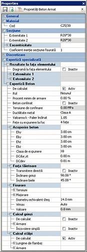 GRAITEC Advance Design | Verifica di elementi in cemento armato | Proprietà avanzate per elementi lineari