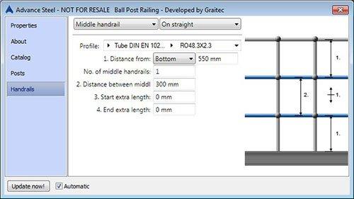 GRAITEC Store | Railing Designer(Include: Montante con sfera) per Advance Steel